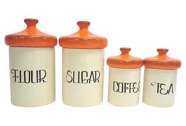 Orange kitchen canister set four