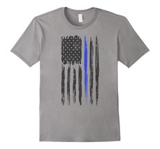Your Shirt--Vintage Blue Stripe Support Your Police Tshirt Tee Men - $17.95+