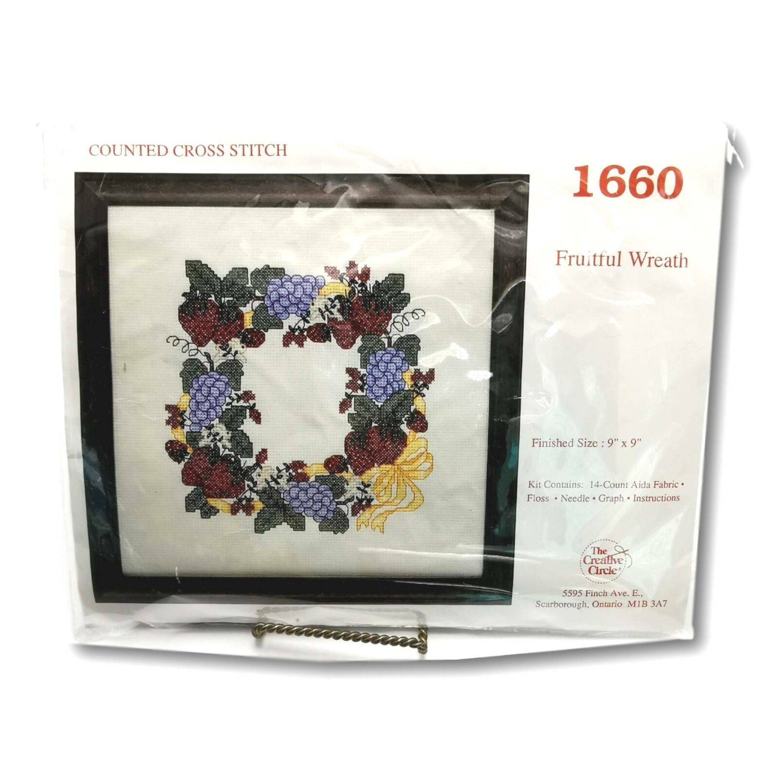 Primary image for Creative Circle 1660 Fruitful Wreath Counted Cross Stitch Kit Grapes Aida 9 x 9
