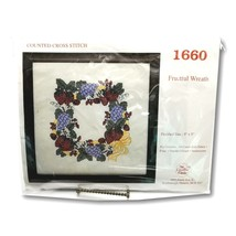 Creative Circle 1660 Fruitful Wreath Counted Cross Stitch Kit Grapes Aid... - $24.99