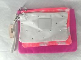 NEW Victoria's Secret Pink White Tie Dyed 3 Piece Cosmetic Bag Set w/Wri... - $14.39
