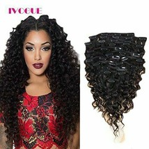 Curly Clip in 100% Virgin Brazilian Human Hair Extensions 7-10PC/Set Ful... - $39.60+