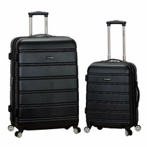 NEW Rockland Luggage Set Melbourne 2-Piece Expandable ABS Spinner Black ... - $79.95