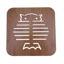 (2)Creative Cat Shape Mat Wood Hollow Heat Insulation Non-slip Dinner Bowl Cup M - $14.00
