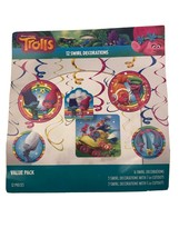 American Greetings Trolls Hanging Party Decorations 6 Swirl Decorations Value PK - $5.95