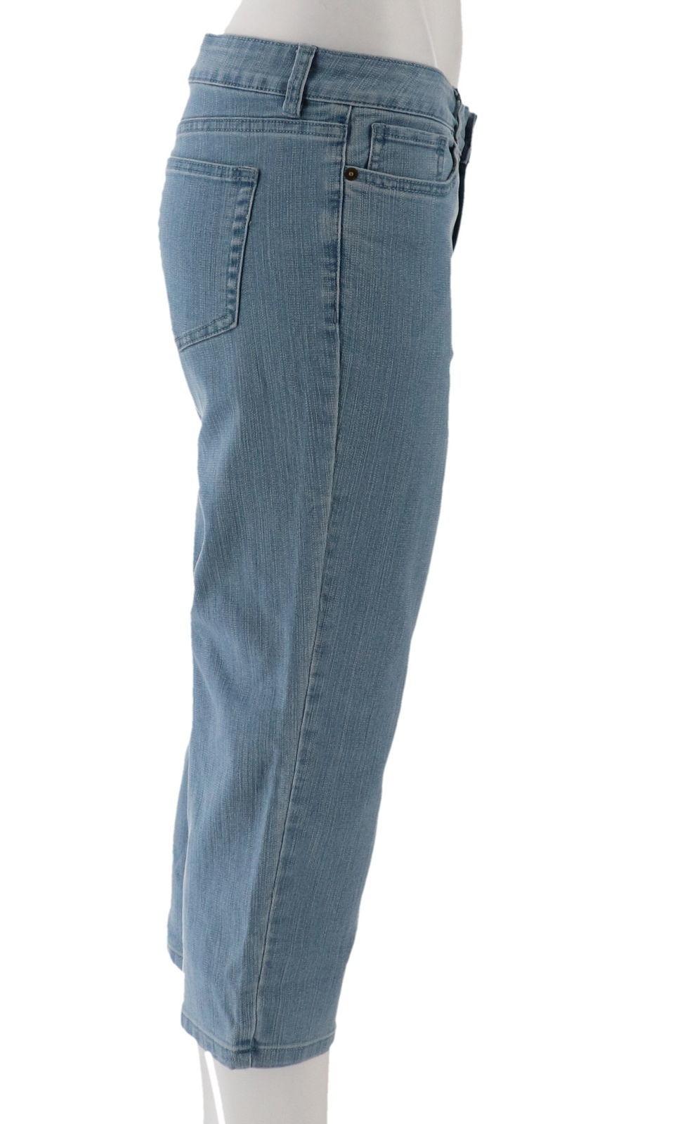Denim& Co Petite Perfect Denim Crop Length Jeans Bleach Wash 22P NEW A301741