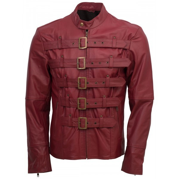 Men maroon belted fashion leather jacket velocista front side