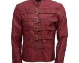 Men maroon belted fashion leather jacket velocista front side thumb155 crop