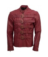 Men maroon belted fashion leather jacket velocista front side thumbtall