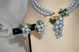 Pegasus Coro Script Demi Enameled Pearl Grape Cluster Necklace Earrings  - $175.00
