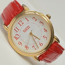Vintage GUESS 1989 Women's Gold Watch Red Croco Leather Works NICE! - $37.57