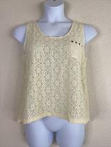 E&M Womens Size L Ivory Floral Lace Pocket Blouse Sleeveless Slit Back - $13.50