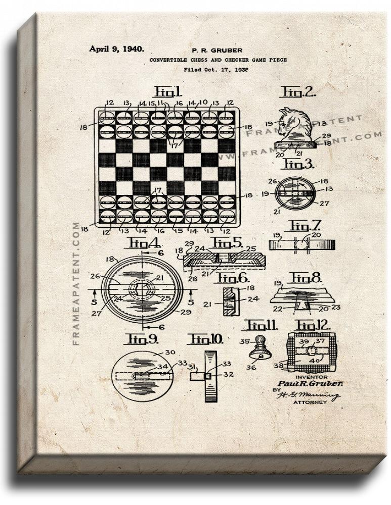 Primary image for Convertible Chess and Checker Game Piece Patent Print Old Look on Canvas