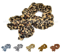 Faux Fur Leopard Cheetah Print Pull Through Collar Neck Wrap Loop Infini... - $8.45