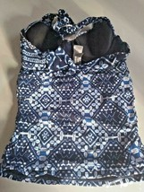 Tommy Bahama Mare Navy Under Wire Tummy Comtrol Swimwear Top Size Small image 2