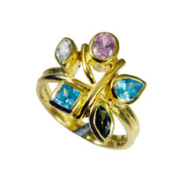 handsome Multi CZ Gold Plated Multi Ring genuine jewelry US gift - $22.99