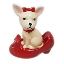 Chihuahua in High Heel Shoe Pumps Ceramic Magnetic Salt and Pepper Shake... - $11.99