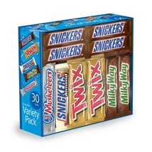 30 Pack Mars Chocolate Candy Full-Size Bars Twix Snickers Milky Way Bulk... - $32.26