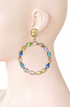 """3"""" Long Multicolor Acrylic Crystals Hoop Earrings Party, Casual Chic, Urban - $16.99"""