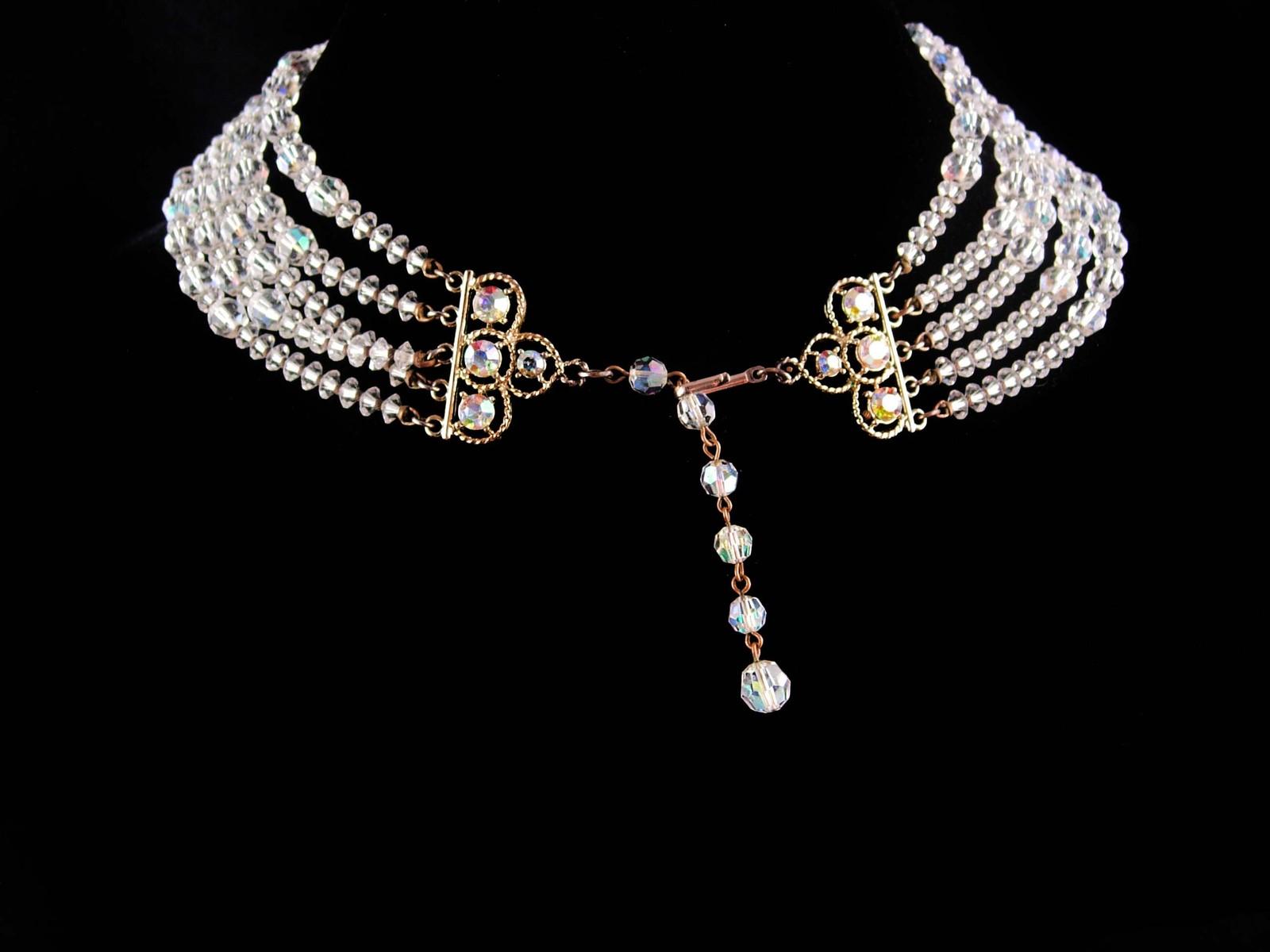 Vintage 5 strand necklace - statement aurora borealis choker - Vintage sparkling