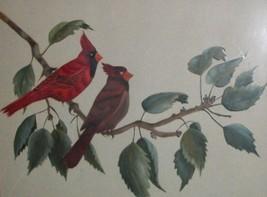 RED WING SONG BIRD CARDINAL ORIGINAL ART PAINTING VTG HOME DECOR AUDUBON... - $69.76