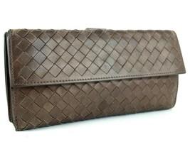Authentic Bottega Veneta Intrecciato Bifold Long Wallet Brown Leather It... - $147.51