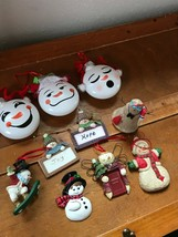 Lot of 10 Cute Emoji Snowboard Lifeguard SNOWMAN Picture Frame Christmas... - $11.29