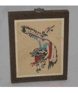 "Neat 5"" X 6 1/2"" Sand Picture Of Native American  Eagle Dance Ceremony - $28.86"