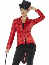 Smiffys Sequin Tailcoat Jacket Red Cabaret Halloween Costume Accessory 4... - $34.99