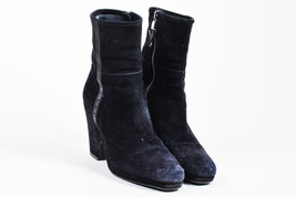 Prada Black Suede Woven Stripe Cut Out Wedge Platform Ankle Boots SZ 36.5 - $105.00
