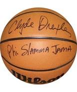 Clyde Drexler signed Wilson NCAA Indoor/Outdoor Basketball Phi Slamma Ja... - $129.95