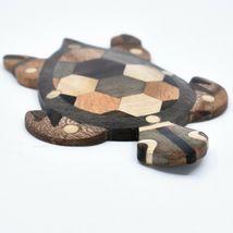 Northwoods Handmade Wooden Parquetry Sea Turtle Sculpture Figurine image 5