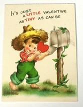 Hallmark Hall Brothers Little Barefoot Boy W/ Straw Hat Valentines Card SV201-7 - $7.95