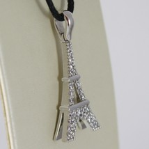 White Gold Pendant 750 18k, Eiffel Tower, 2.8 Cm Long with Zirconia image 2