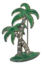 Antique Deco Green Enamel Marcasite Palm Trees Pin So Pretty  Silver Ton... - $53.99