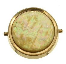 Antique 1875 GF Gold Filled Lapel Pin Button Golden Abalone Mechanical Snap - $41.39