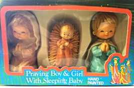 Vintage--Hand Painted Boy & Girl Praying & Sleeping Baby figures--3 PC S... - $12.00