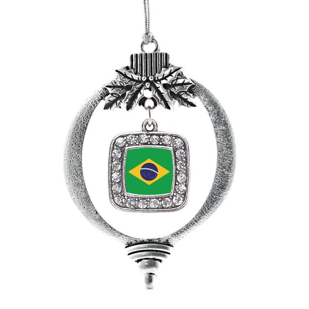 Primary image for Inspired Silver Brazilian Flag Classic Holiday Christmas Tree Ornament With Crys