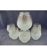 Blue Frosted Cocktail Pitcher + 5 Rolly Polly Glasses Elegant Mid-Century - $29.95