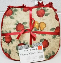"""Set of 4 CHAIR PADS CUSHIONS w/ red strings, 15"""" x 15"""", APPLES & PEARS b... - $23.75"""