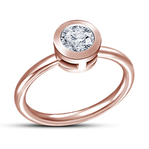Round Cut White Diamond 14k Rose Gold Plated 925 Silver Solitaire Wedding Ring - $54.80