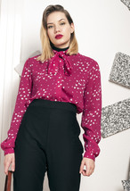 70s vintage pussy bow blouse - $28.78