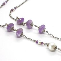 SILVER 925 NECKLACE, AMETHYST, OVAL AND DISCO, PEARLS, LENGTH 80 CM image 4