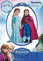 Simplicity Creative Patterns S0733 Disney's Frozen Pattern Costume for Children, - $16.17
