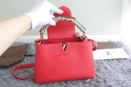 100% Authentic Louis Vuitton CAPUCINES MM Bag Red Taurillon Python image 8