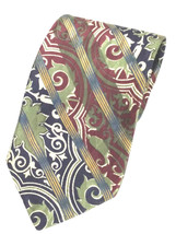 Structure Mens Multicolor Paisley Texture 100% Silk Tie Made in USA - $12.16