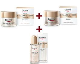 Eucerin Lot Hyaluron Filler + Elasticity day + night creme + oil serum - $128.69