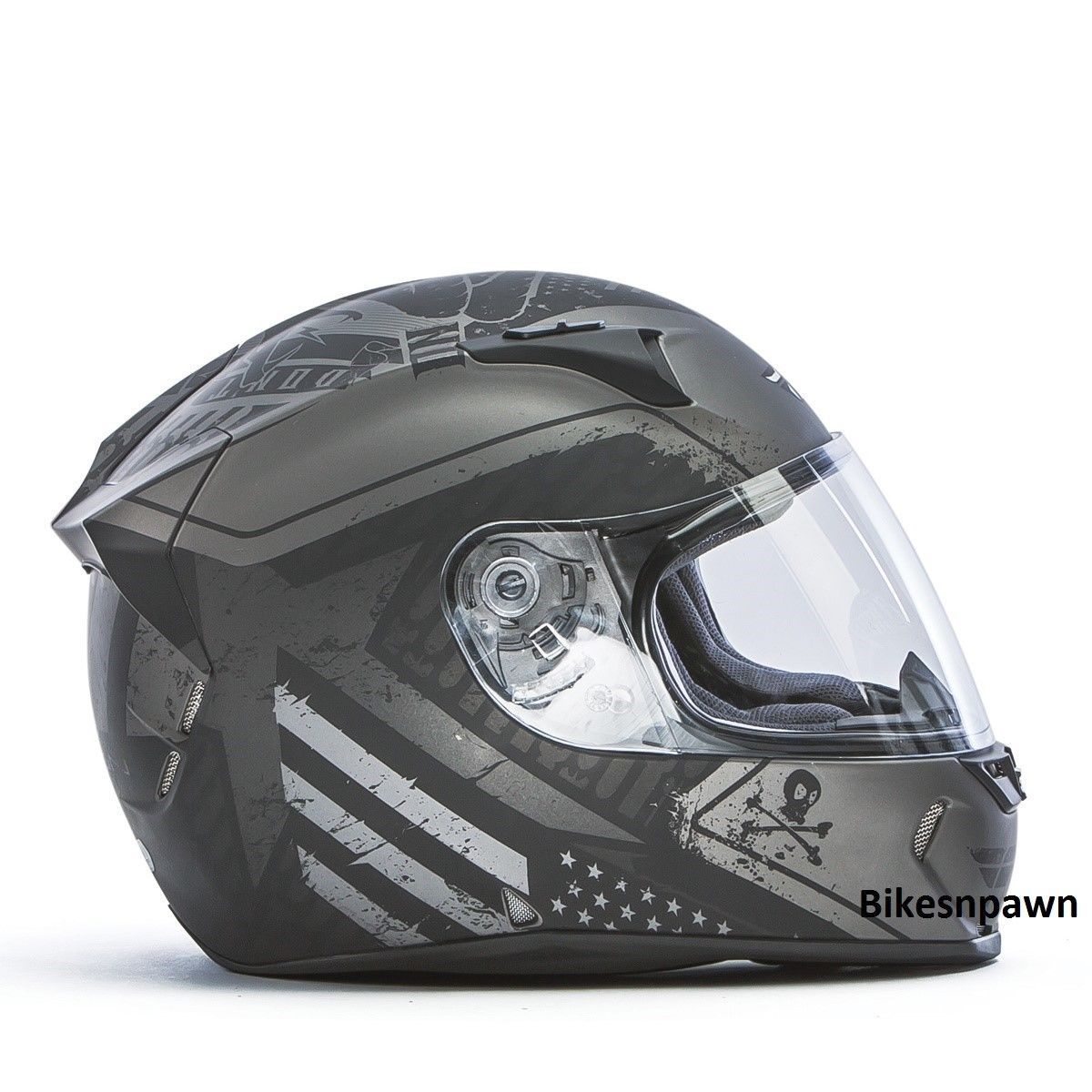 New S Fly Racing Revolt FS Cycle Helmet Flat Grey/Black Patriot DOT & Snell