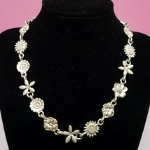 Vintage E.H. Statement Necklace Floral Silver Tone Pewter E&H Trading Co... - $9.97