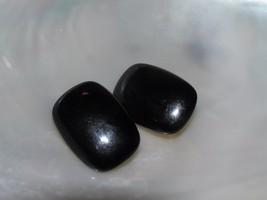 Vintage Monet Signed Black Plastic Rounded Rectangle Goldtone Clip Earri... - $10.39